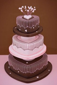 Chocolate hearts piped cake