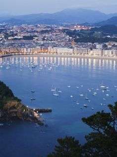 Inch Print - High quality print (other products available) - San Sebastian Bay at night, Basque Country, Euskadi, Spain, Europe - Image supplied by WorldInPrint - Photo Print made in the USA Places To Travel, Places To See, Places Around The World, Around The Worlds, San Sebastian Spain, Barcelona, Biarritz, Voyage Europe, Madrid