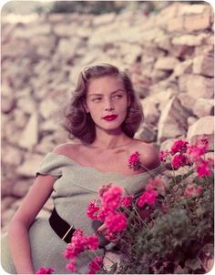 Simple glamour wave and roller set on Lauren Bacall.