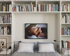 bookshelves in the bedroom / T Magazine