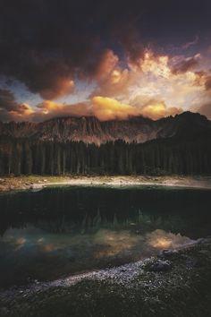 captvinvanity:    Sunset on Carezza Lake |Luca Pelizzaro    Uno dei miei giri preferiti in moto