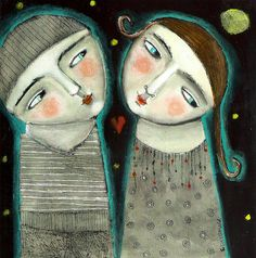 Mixed Media Painting Print  Expressive couple moonlight kitty jujubes