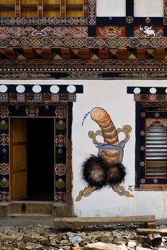Phallus painting to ward off evil and bring abundance, Bhutan.
