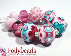 Handmade Lampwork Artisan glass bead set in Teal, Pinks and White