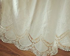 Fresh Cotton Lace Fabric ,Cotton Eyelet Fabric with Scalloped Borders ,Embroidery Fabric for Bridal Dress