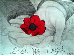 Remembrance Day art - a simple poppy held in the hand, can mean so much.