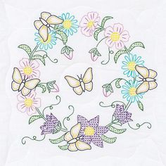 Butterfly Wreath White Quilt Blocks - Embroidery Kit