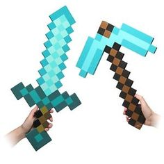Minecraft Blue Diamond Foam Pickaxe And Sword Minecon Comic Con Costume Prop
