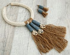 Statement necklace Unusual Ethnic necklace Bib by Jewelry4UOnly