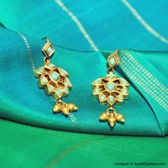 A sneak peak into Sakhi & Amrapali's exclusive showcase Pure Turquoise danglers set in 22Ct Gold  Ref Code #AMP-15  Call: +91 9900033636 / contact@SakhiFashions.com