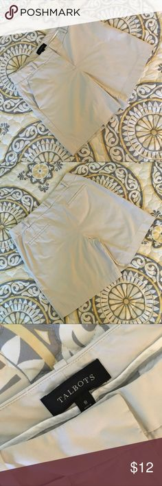 """Talbots Flat Front Khaki Shorts SZ 8 Classic flat front khaki shorts by Talbots. Hook/zipper in the front. Two side pockets. 16.5"""" W; 16.75 L; 7"""" Inseam; 10"""" Rise. Perfect condition with no flaws. Soft cotton with spandex for a hint of stretch. Talbots Shorts"""