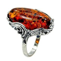 Sterling Silver Natural Baltic Amber Ring, Size 6.5  Price : $37.95 http://www.silverplazajewelry.com/Sterling-Silver-Natural-Baltic-Amber/dp/B013JB8VL6