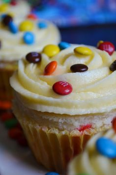 M&M Cupcakes with White Chocolate Pudding Buttercream