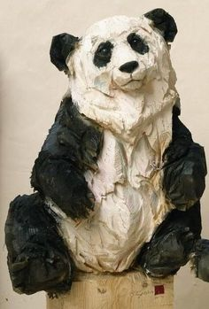 Panda' wooden sculpture made by a chainsaw. Awesome, reimagine in clay. Ceramic Animals, Glass Animals, Ceramic Art, Pottery Sculpture, Wood Sculpture, Sculptures Céramiques, Garden Sculptures, Wow Art, Wooden Art