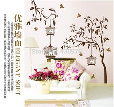 QZ1428 Free Shipping 1 Pcs Aestheticism Bird Cage Bird Singing On The Tree Removable Wall Stickers Fancy Home Decoration