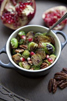 Honey Pomegranate Glazed Brussels Sprouts #PullUpaChair
