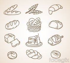 12 bread dessert design vector