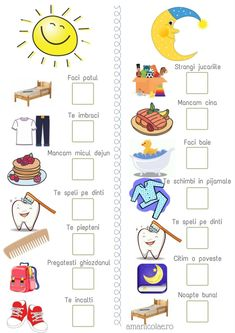 Morning and evening routine (printable) - Ama Nicolae- Rutina de dimineata si de seara (printabil) – Ama Nicolae Morning and evening routine (printable) – Ama Nicolae - Preschool Learning Activities, Infant Activities, Educational Activities, Kids Learning, Kids Routine Chart, Schedule Printable, Morning Routine Chart, Kids Schedule, Chore Chart Kids