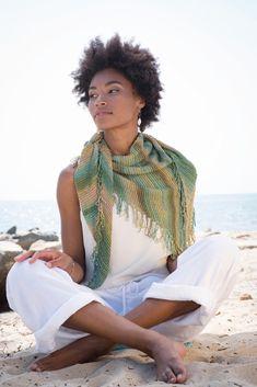 785a1771e08ad4 Easy! Berroco Vacanza Shawl Knitting Pattern using self striping Berroco  Medina yarn Knitted Shawls