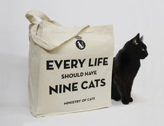 Every life should have nine cats - Chatty Nora tote bag. £15.00, via Etsy.