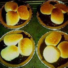Mini S'more pies  Use mini pie crusts Full with instant chocolate pudding Use marshmallow squares and place under broiler until toasted!  Perfect portion and delicious treat!