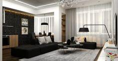 Moderne Wohnzimmer Idee in Schwarz-Weiß mit Backsteinwand und grauem Teppich