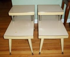 Two Vtg Retro Mid Century Modern 2 Tier Step End Tables Wood Formica Top Blonde