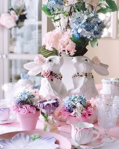 ..#SpringDecor #diycrafts #EasterDecor #FloralDesigns #TableScapes #Centerpieces #BunnyLover #Tablescape #SpringDecorating #FloralDesigner #BunnyLover #MyHomeSense #Hydrangeas #TheCottageJournal #BHGHowIHoliday #EasterTable #ILovePink #Dishware #SweetnessOverload #MyCountryHome #ShabbyChicStyle #MySouthernLiving #CountryLivingMag #inspire_me_home_decor #Hydrangeas #PartyStylist #thatsgoodhousekeeping #TheDesignTwinsLoveSpring #HouseBeautifulHome Spring Is Here, Spring Home, Inspire Me Home Decor, Centerpieces, Table Decorations, Dark Winter, Easter Table, Shabby Chic Style, Hydrangeas