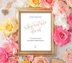 Editable PDF Template 8x10 Signature Cocktail Sign INSTANT DOWNLOAD Rose gold calligraphy Wedding Signature Drink Bar Sign Printable Digital by DreamPrintable on Etsy