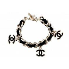 ♥…♥…♥  Chanel Replica Black Enamel Leather Interlinked Thick Gold Link Bracelet ,▁⋚▄☞ KISS MY BELOVED... の♪♫