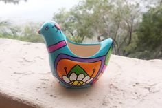 Hand Painted Ceramic Bird Planter Turquoise Dove by Vivian Estalella