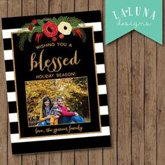 Christmas Card, Photo Christmas Card, Black and White Stripe Floral, Merry Christmas, Happy Holidays, Holiday Card, DIY Printable