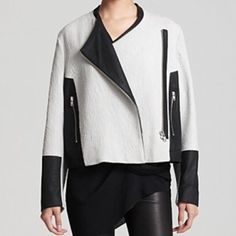 Authentic Helmut Lang Leather Contrast Jacket SOO amazing and perfect to throw on over a t shirt or with a dress. I wore it for less than two hours and it still has the tag on it. No trades!! Helmut Lang Jackets & Coats