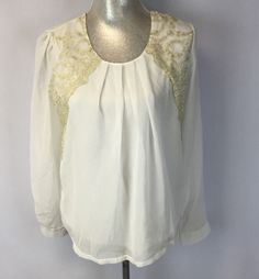 Liang E Liang Yink White Boho Top with Gold Floral Print New XL