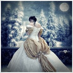 | Cold Winter Night, balcony, cold, Fantasy, girl, gown, moon, night ...