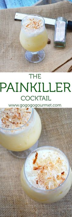 This Painkiller Cocktail is totally out of this world- rum, coconut, orange and pineapple form a little taste of the tropics. Go Go Go Gourmet Non Alcoholic Drinks, Bar Drinks, Cocktail Drinks, Cocktail Recipes, Beverages, Cocktail Shaker, Margarita Recipes, Cocktail Glass, Painkiller Cocktail