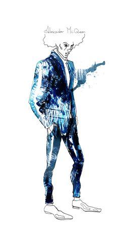 Alexander McQueen menswear AW 2012 Illustration by Sara Ligari