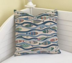 School of Fish and Waves Designer Pillow Cover - Square, Euro and Lumbar Sizes by SewSusieDesigns on Etsy