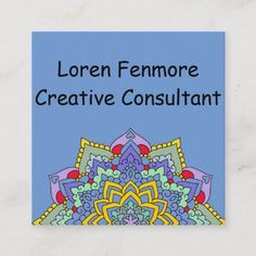 Shop Color Spectrum Flower Power Mandala Indigo Square Business Card created by Liveandheal. Personalize it with photos & text or purchase as is! Premium Business Cards, Salon Business Cards, Artist Business Cards, Unique Business Cards, Professional Business Cards, Business Card Design, Blue Square, Flower Mandala, Logo Design Inspiration