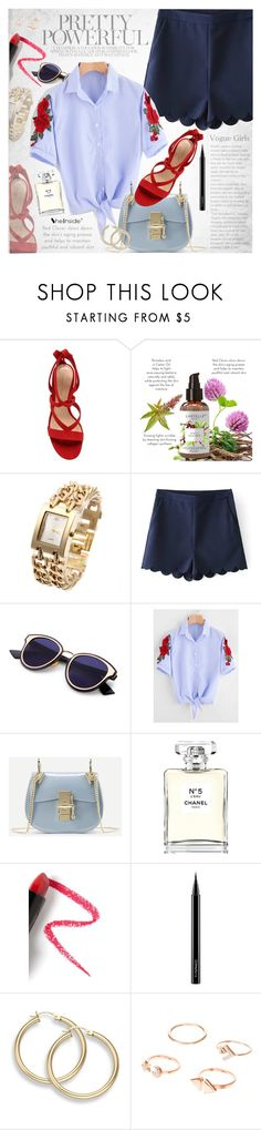 """""""Emboridered shirt"""" by vanjazivadinovic ❤ liked on Polyvore featuring Gianvito Rossi, Chanel, Lapcos, MAC Cosmetics, Sheinside, stripedpants and polyvoreeditorial"""