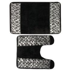 Clic Black And Silver Tile Patchwork Bath Contour Rug Set Or Separates