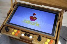 Retro retro game table - Imgur Retropie Arcade, Arcade Bartop, Arcade Stick, Arcade Games, Diy Arcade Cabinet, Arcade Machine, Vintage Diy, Boombox, Table Games