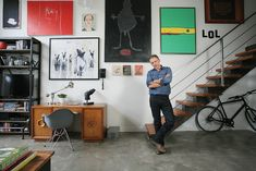 Oliver Simon Design's makeover of Callum Keith Rennie's industrial loft is almost as cool as the Canadian actor himself. Callum Keith Rennie, Tv Shelf, Loft House, Reclaimed Timber, Living Magazine, Barn Lighting, Leather Sectional, Industrial Loft, Country Furniture