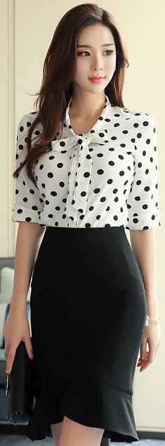 Grackle Tulip Hem H-Line Skirt, snowy polka chemisier w/ collar bow, fair skin, coral smile, chestlength straight dark chocolate mane Office Outfits, Casual Outfits, Cute Outfits, Office Fashion, Work Fashion, Fashion Wear, Jw Mode, Business Outfit Frau, Business Mode