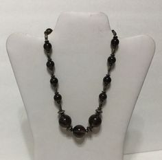 Smokey Topaz ? Pools of Light Dark Orbs Sterling Silver 925 Bead Necklace by…
