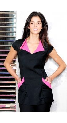Ashley beauty tunic with pink coloured collar and pockets