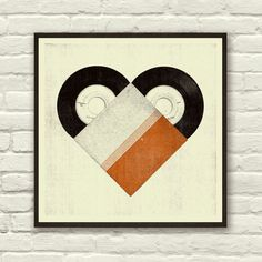 Retro Vinyl Heart Print   dotandbo.com