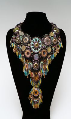 Bib-Style Necklace with Seed Beads, Glass Beads and Polymer Clay - Fire Mountain Gems and Beads
