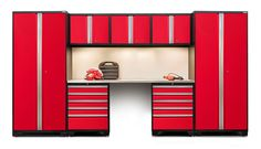 NewAge PRO 3.0 Red 8-Piece Set with Stainless Steel Top #GarageCabinetsOnline