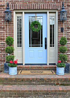 If the stripped-down look of natural wood feels too sleepy for your entryway, try the opposite approach and paint it a bold, daring color. Don't be afraid: Black or neon or blue, like this entryway from Our Fifth House, can really make over a facade. Click through for more DIY projects that will up your curb appeal.